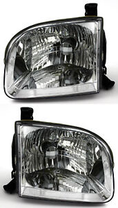 For 2001 2004 Toyota Sequoia Tundra Double Extended Cab Headlights Pair Set Fits 2002 Toyota Tundra