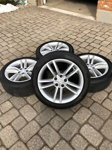 Tesla Model S 2012 16 19x8 Silver Oem Wheels Set Of 4 With Michelin Tires
