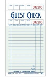 Monogram G3632 mgrm Guest Check Book Board 1 Part Green Pk 50 Books