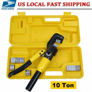 Hydraulic Wire Terminal Crimper Battery Cable Lug Crimping Tool W 7 Dies 10 Ton