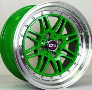 4 Four 15 L432 Drift Racing 15x8 25 Cb 73 10 4 Lug Honda Wheel Rims Green