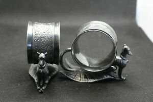 Antique Victorian Silver Plated Figural Napkin Rings With Great Danes Whippets