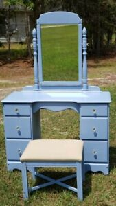 1950s Vintage Rock Maple Vanity Vtg Mahogany Chippendale Stool Farmhouse Dresser
