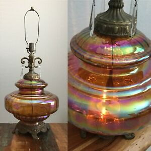 Large Vintage Mid Century Amber Carnival Glass Lamp Regency