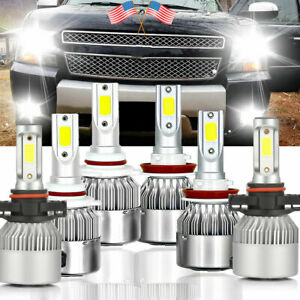 Fit For 2007 2014 Tahoe Suburban Xenon White Led 9005 h11 Hi low fog Lights Bulb