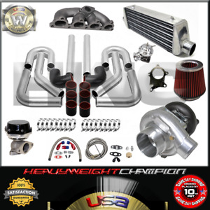 Turbo Kit T3 T4 For 88 00 Civic Delsol Crx D15 D16 Fmic Pk Wg Bov Manifold Bk