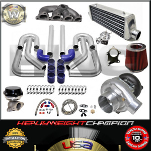 Turbo Kit T3 T4 For 88 00 Civic Delsol Crx D15 D16 Fmic Pk Wg Bov Manifold Bl