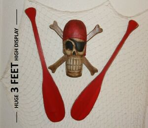 Jolly Roger Restaurant Decor Weathered Look Wood Fishing Net 4 Items