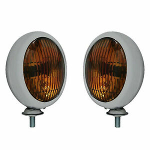 Fog Lights Chrome Housing 12 Volt Amber Lights Chevy Bombs Vintage Style