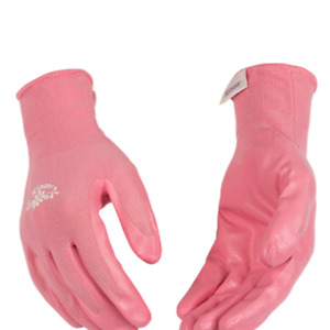 New Kinco Womens Size Large Pink Nitrile Coated Chore Garden Work Gloves