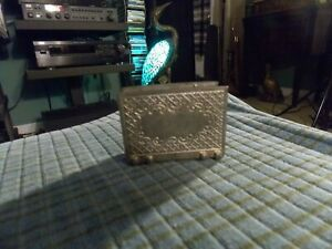 Vintage Les Potstainiers Finstain Pewter Business Card Holder Belgian Made Vg