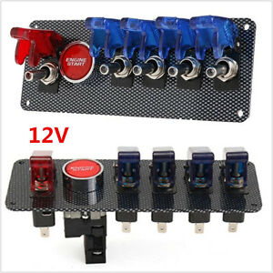 12v Racing Race Car Ignition Switch 4 Blue 1 Red Led Toggle Switch Button Panel