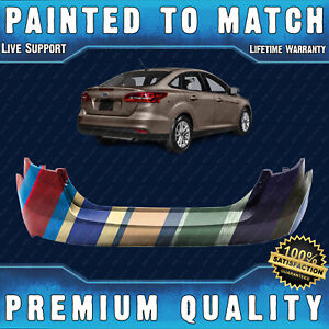 New Painted To Match Rear Bumper Cover Fascia For 2015 2018 Ford Focus Sedan