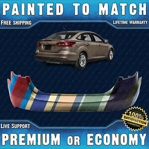 New Painted To Match Rear Bumper Replacement For 2015 2018 Ford Focus Sedan 4dr