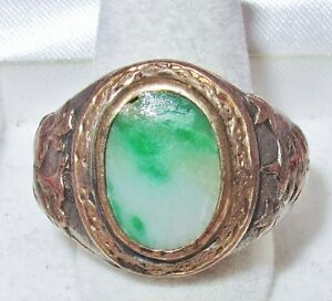 Antique Chinese Silver Gold Ring W 14mm Green Jadeite Jade 24 5g Size 10