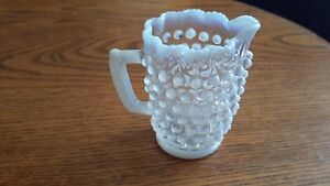 FENTON OPALESCENT MOONSTONE HOBNAIL SMALL 3quot; CREAMER WITH CRIMPED EDGES