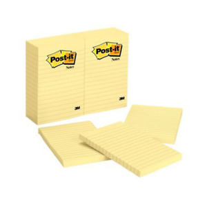 Post it Notes 660 4 In X 6 In 10 16 Cm X 15 24 Cm Canary Yellow Lined