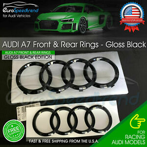 Audi A7 Rings Front Grill Rear Curve Trunk Emblem S7 Rs7 Gloss Black Logo Oe Set