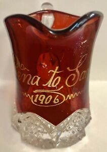 1906 Souvenir Eapg Button Arches Ruby Flash Glass Rena To Sadie Creamer Pitcher