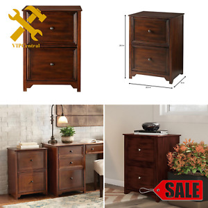 Vertical File Cabinet 2 Drawer Filing Office Home Wood Durable Rustic Room New