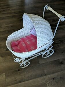 Antique Baby Doll Stroller Vintage Look White Wicker Metal Carriage Buggy