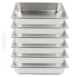 New 6 Pack Full Size 4 Deep Stainless Steel Steam Table Hotel Buffet Pans Usa