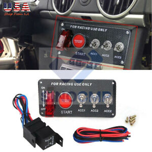 Refit 12v Led Toggle Ignition Switch Panel Engine Start Push Button