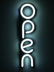 Led Open Sign For Business Bright White Vertical Neon Style Open Light