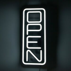 Vertical All White Led Open Sign Modern Crazy Bright Open Signs For Business