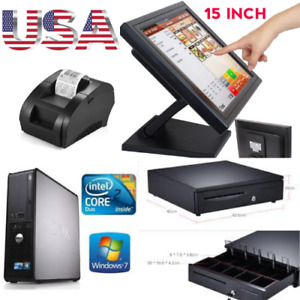 New Touchscreen 15inch Point Of Sale System Pos Restaurant 2 Printers
