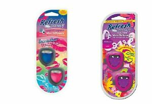 Refresh Your Car Mini Diffusers Air Freshener Lot 3 Packs Scent Choice Available