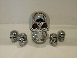 Vintage Chrome Heavy Metal Skull Gear Shift Knob 4 Matching Tire Valve Caps