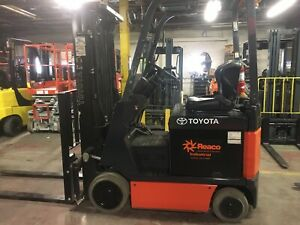 2014 Toyota 3500 Lb Electric Forklift With Side Shift And Triple Mast