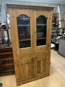 Lovely Antique Solid Oak Glass Display Case China Cabinet
