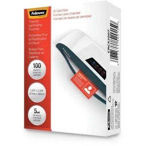 Fellowes 52015 Hot Laminating Pouches Id Card Unpunched 5mil 100pk