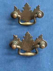 2 Vintage Brass Chippendale Drawer Pull Drop Handle Furniture Hardware Reclaimed