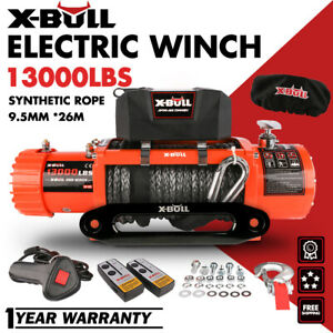 X Bull 12v 13000lbs Electric Winch Synthetic Rope Jeep Trailer Towing Truck 4wd