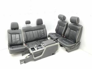 2011 2014 Ford F150 Complete Set Of Seats Black Leather With White Piping