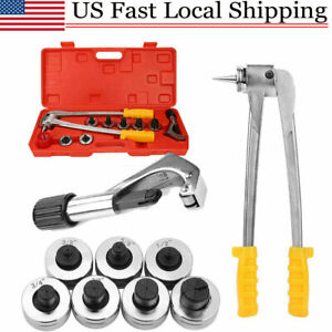 Plumbing Pipe Expander Tool Hvac Hydraulic Copper Heads Tube Swaging Set W Case