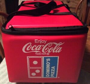 """DOMINO'S PIZZA / COCA COLA Vintage NEW RED Insulated HOT / COLD BAG 19""""X11""""X 9"""""""