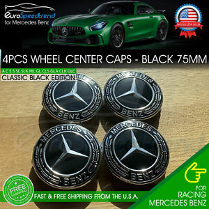 4 Mercedes Benz Classic Black Wheel Center Hub Caps Emblem 75mm Laurel Wreath