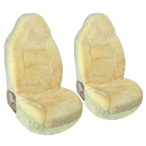 High Back Genuine Australian Sheepskin Front Seat Covers Universal For Car Suv