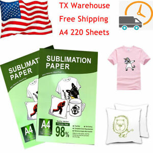 Dye Sublimation Transfer Paper 220sheets A4 Iron On Mug Polyester T shirt Plate