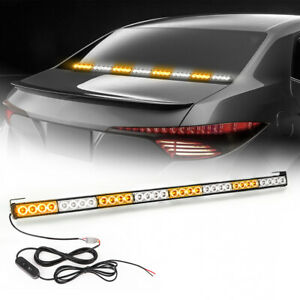 36 32 Led Emergency Warning Traffic Advisor Flash Strobe Light Bar Yellow White