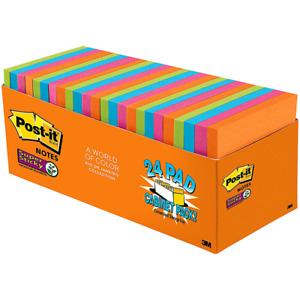 Post it Super Sticky Notes 654 24ssau cp 3 In X 3 In 76 Mm X 76 Mm