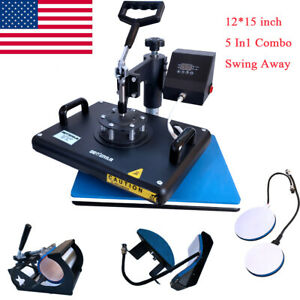 12 x15 5 In1 Combo Heat Press Transfer Printing Machine Shirt Hat Mug Swing Away