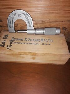 Vintage Brown Sharpe Providence R i Micrometer Calipers Ew Case 154
