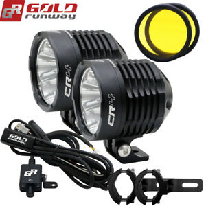 Motorcycle Spot Led Auxiliary Fog Light Driving Lamp With Wiring Harness Clamps
