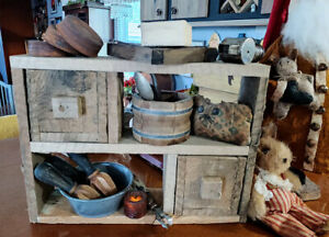 Primitive Rustic Countertop Shelf With Working Drawers