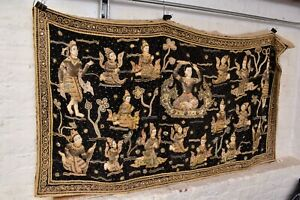 Rare Antique Vintage Burmese Kalaga Tapestry Wall Hanging 59x34 Textile Fabric